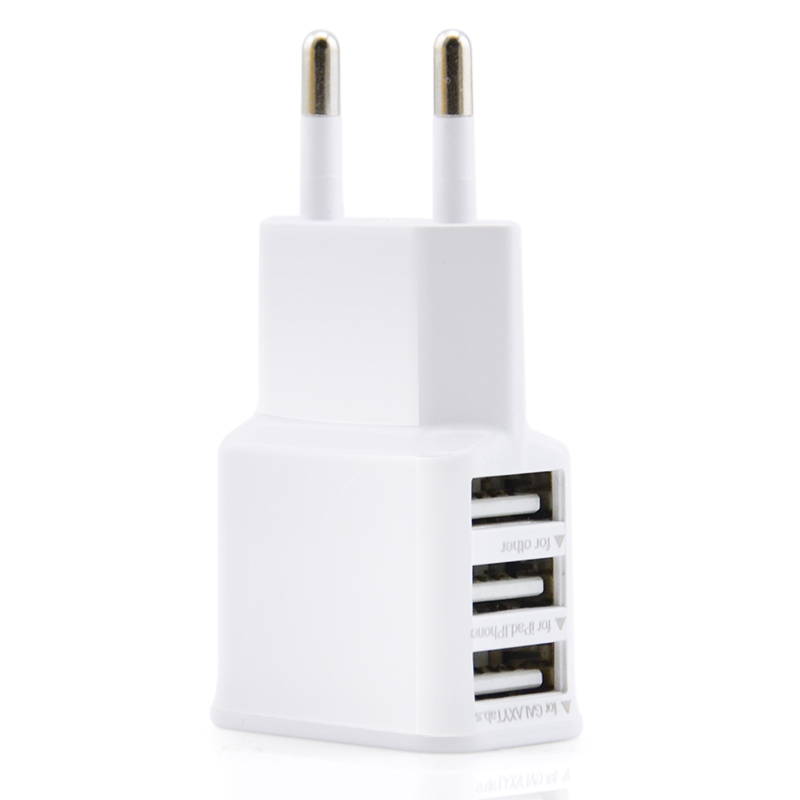 EU 3 USB 5V 2A Adapter Wall Charger Mobile Phone Accessories Device Micro Data Charging For iPhone 4 5 6 iPad Samsung Wholesale