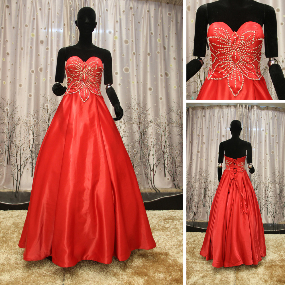Red And White Ball Gown Wedding Dress: WR046 Sweetheart Neckline Puffy Red Ball Gown Red And