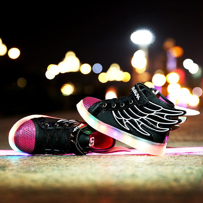 4a492c8d0a35 Kids Light Up Shose with Wings Children Usb Charging Led Light Shoes  Sneakers Luminous Lighted Boy Girl Shoes Chaussure Enfant