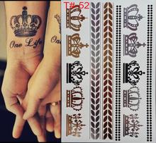 Estilos de tatuagem Flash tatuagens prata metálico ouro e prata coroa Imperial tatuagem temporária tatuagem descartável