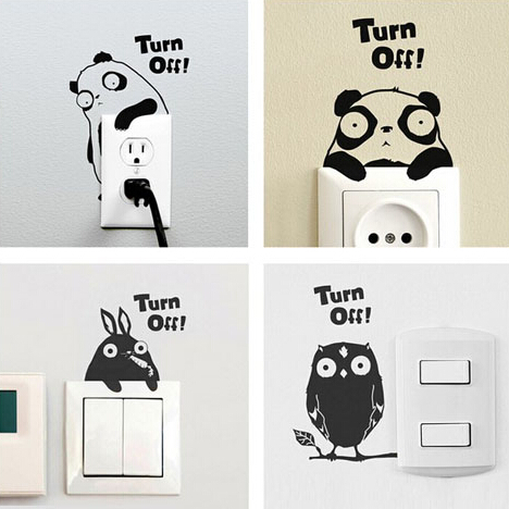 4Pcs/set Removable Cute Switch Wall Sticker Cartoon Animal Art Vinyl Decal Home Decor Wall Window Stickers Bedroom Decor