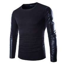 Fashion Casual Men 2015 black PU Leather Spliced O-neck sweater shirts PU Leather Long sleeve men's pullovers sweater M-2XL