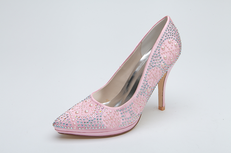 Pink High Heels For Wedding: Sparkly Pink Bridal Wedding Shoes 10.3 Cm High Heel