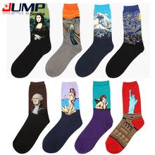 2015 New European Fashion Men Women s Harajuku Style Printing Oil painting  Art Sock Cotton Casual socks 8 6f587f7719