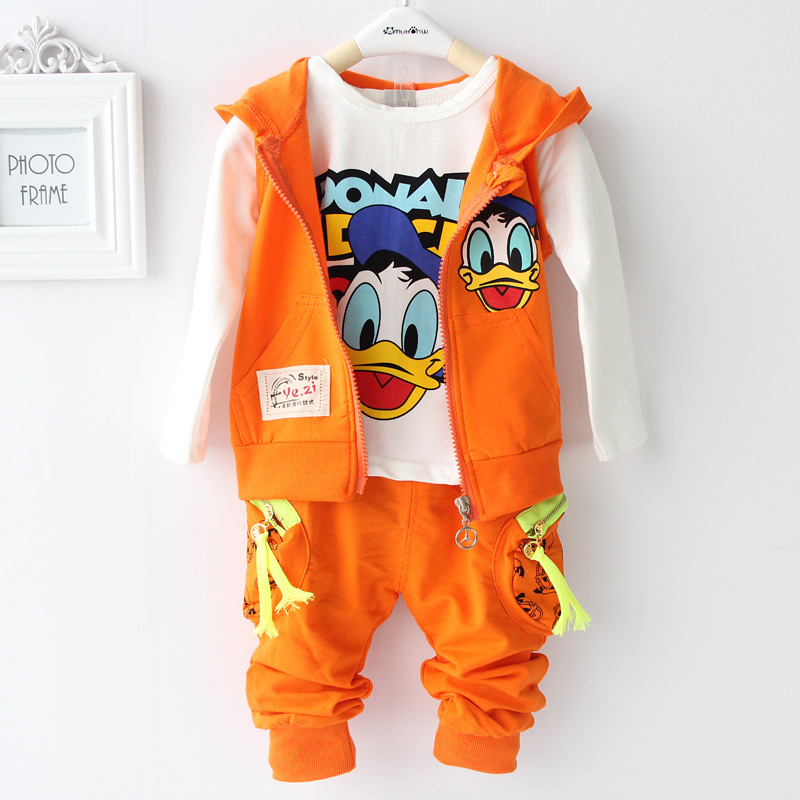 2015 New Arriver Cotton Autumn Baby Clothing Set Duck Vest + T shirt + Pants Children Clothing Set Baby Boy Girl chothes