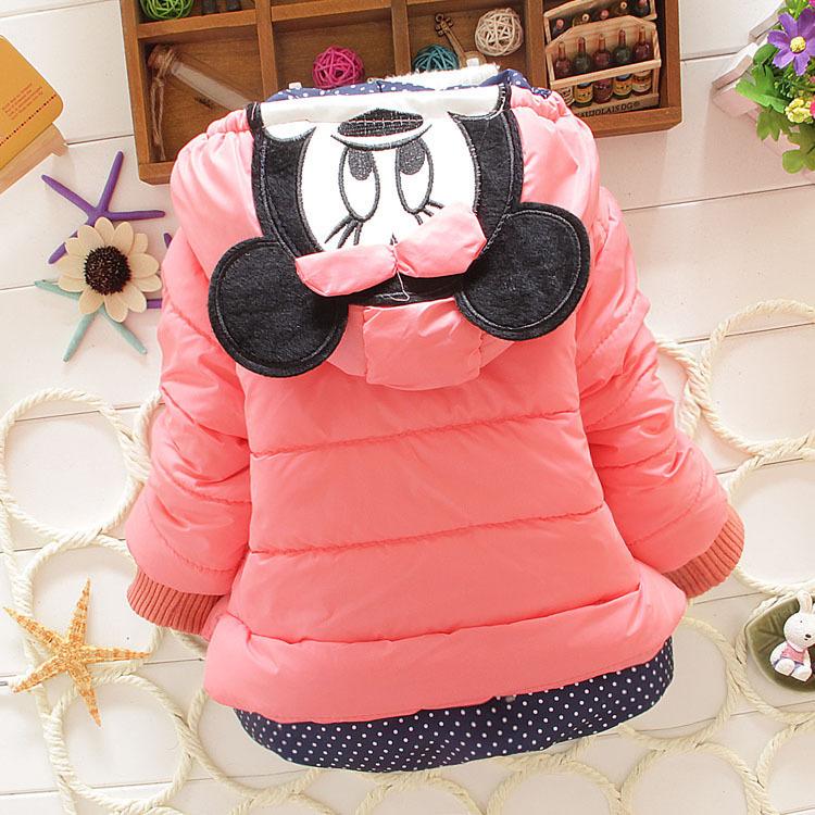 Детская зима верхняя одежда девочки комикс минни пальто младенцы большой толстый шерсть хлопок куртка 3 цвета 0 - 2 года