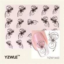 YZWLE 1 Pcs Nail Art de Água Adesivos de Unhas Beleza Wraps Foil Polonês Decalques Tatuagens Temporárias Watermark (YZW1443)