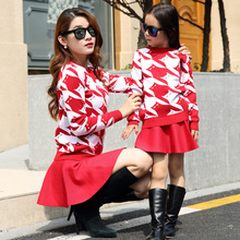 Fashion mother kids long sleeved sweater skirt mother daughter clothing set family matching outfits clothes sets