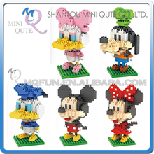 Mini Qute LNO kawaii 5 styles Big head standing mouse duck nano 3d plastic puzzle cartoon model children gift educational toy