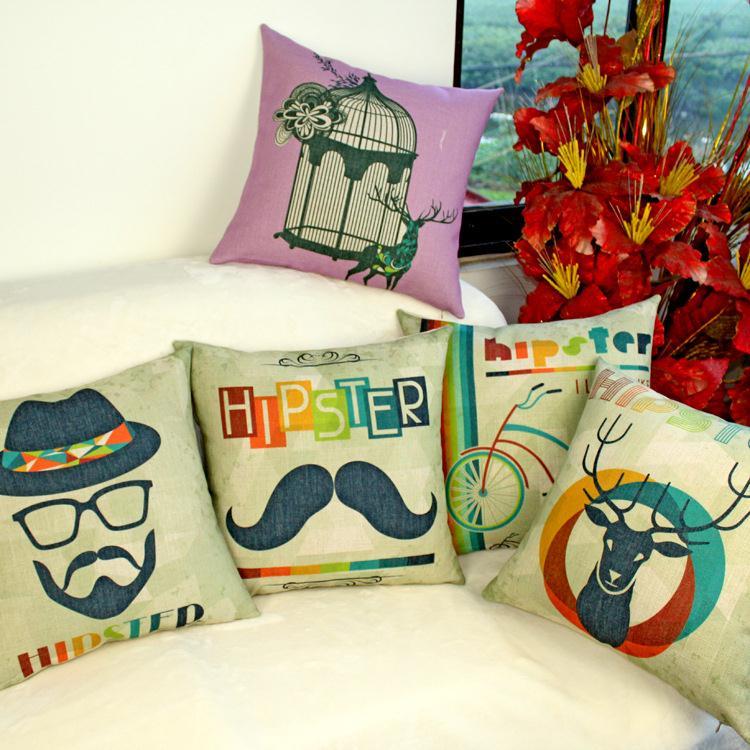 Free Shipping Retro Beatles Cool Bike Pop Linen Fabric Sofa Pillow Hot Sale New Home Fashion Christmas Decor 45cm Car Cushion