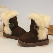 2016 Winter Children Boots Thick Warm Shoes Cotton-Padded Suede Buckle Girls Boots Boys Snow Boots Kids Shoes EU 21-35