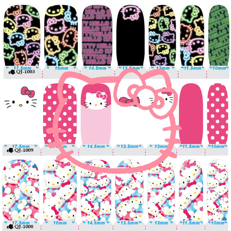 14 Style Hello Kitty Cat Nail Art Sticker Patch 14pcs Set High Quality Foils Decals Polish