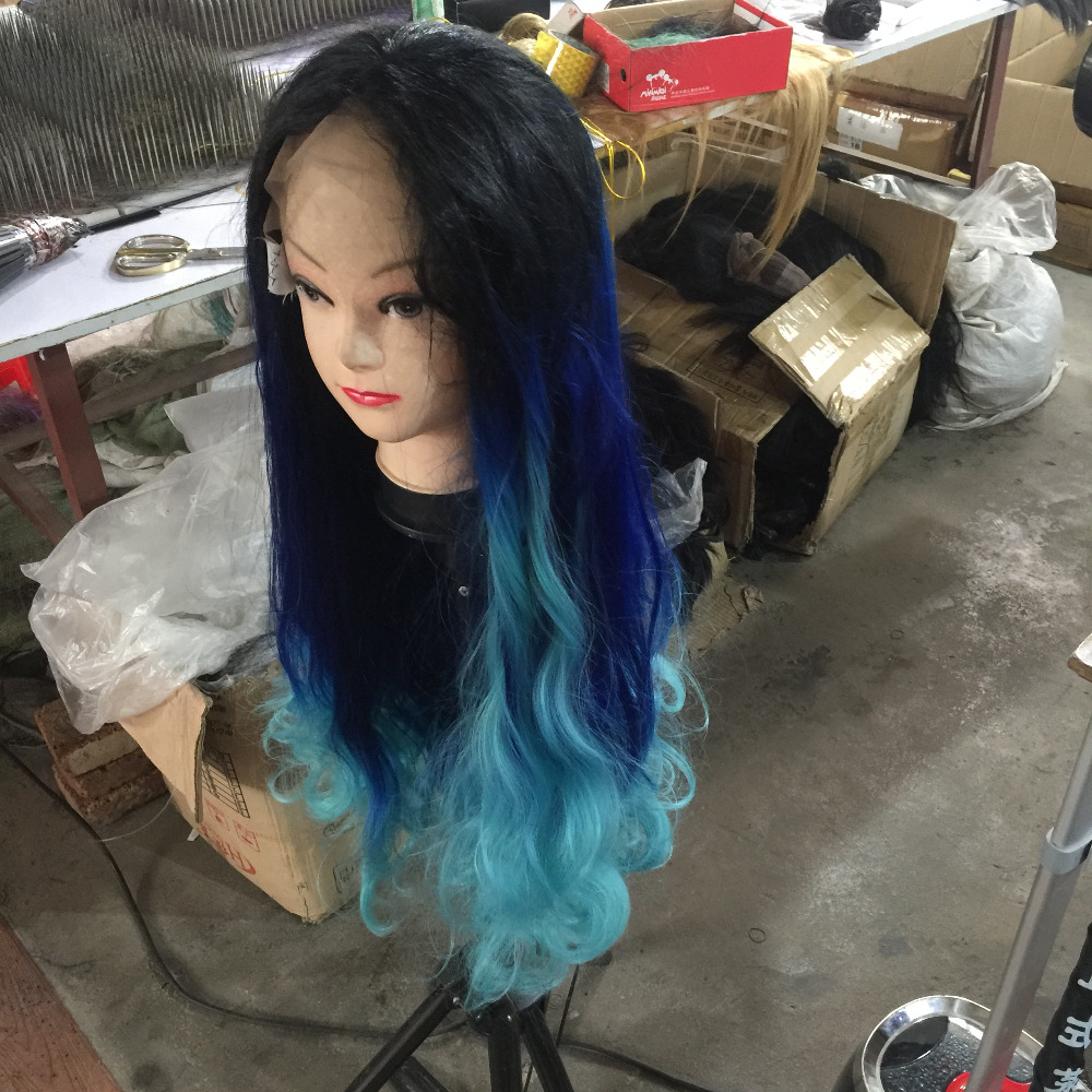 Romance Curly Synthetic Lace Front Wig Ombre Mermaid Color Heat Resistant Wig with Side Part