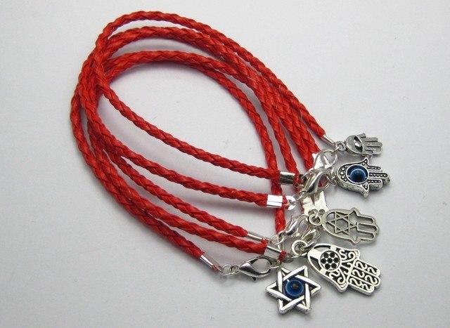 20 смешанные каббала хамса рук подвески красный Leatheroid плетеный строка браслеты