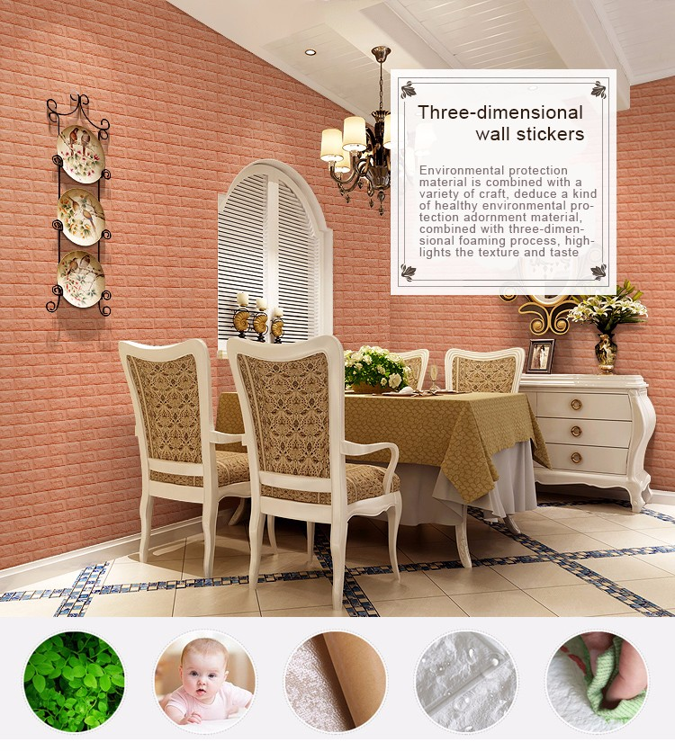 50 Bold And Inventive Dining Rooms With Brick Walls: DIY Creative 3D Brique PE Mousse Mur Autocollant Auto