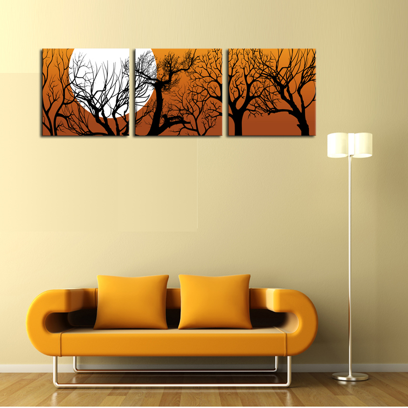 Unframed 3 Sets Canvas Painting Moon And Trees Art Cheap