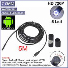 The Latest 7mm 6 LEDs Android Smartphone USB Endoscope IP67 Waterproof OTG Android Inspection Camera With 1M Cable Borescope