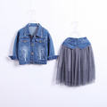 2016 New Children s Clothing Girls Fashion Two piece Suits Denim Jacket And Net Yarn Long