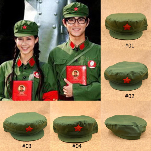 Wholesale-Nostalgic Style Red Star Metal Badge Chinese Old Army Mao Hat  Vintage Retro Communist Party Cap Military Army Hats