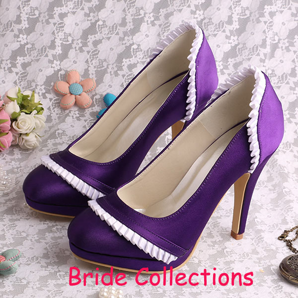 Custom Handmade Purple Wedding Shoes Bridesmaid High Heels