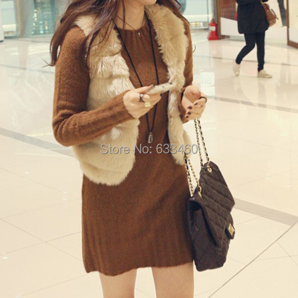 Женщины кролика меховой жилет без рукавов верхняя одежда пальто жилет