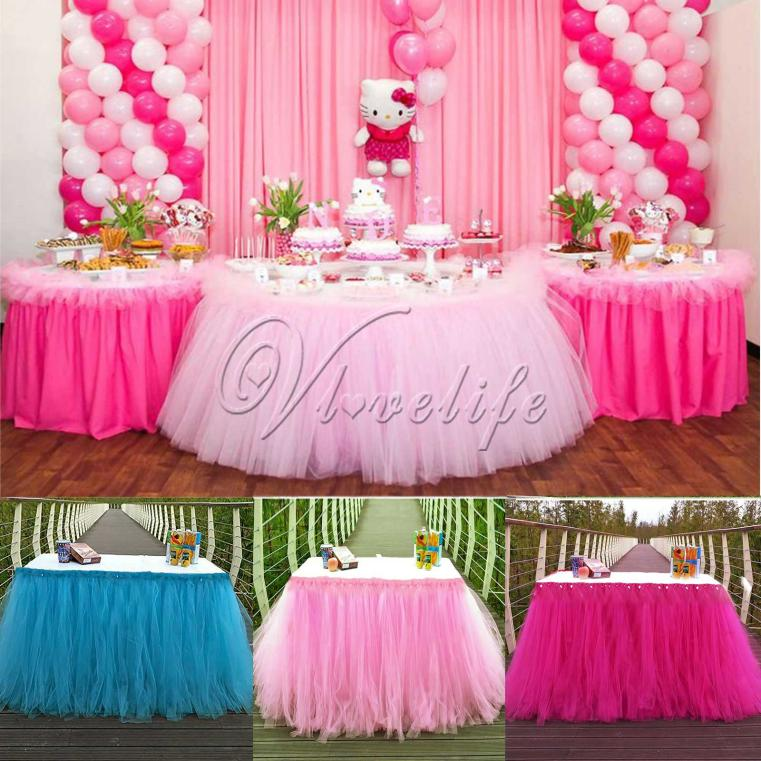 Wholesale New Tulle TUTU Table Skirt Tableware Wedding Party Xmas
