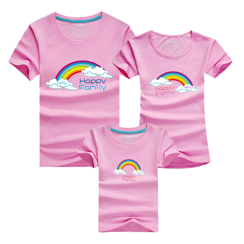 PSEEWE Summer Family Look met Rainbow T Shirts Family Matching Clothes Father matching mother daughter clothes