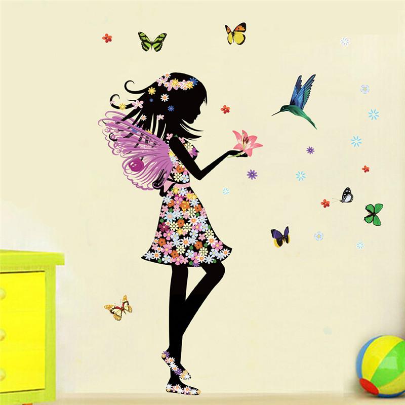 Fashion Modern DIY Decorative Mural PVC Girl Butterfly
