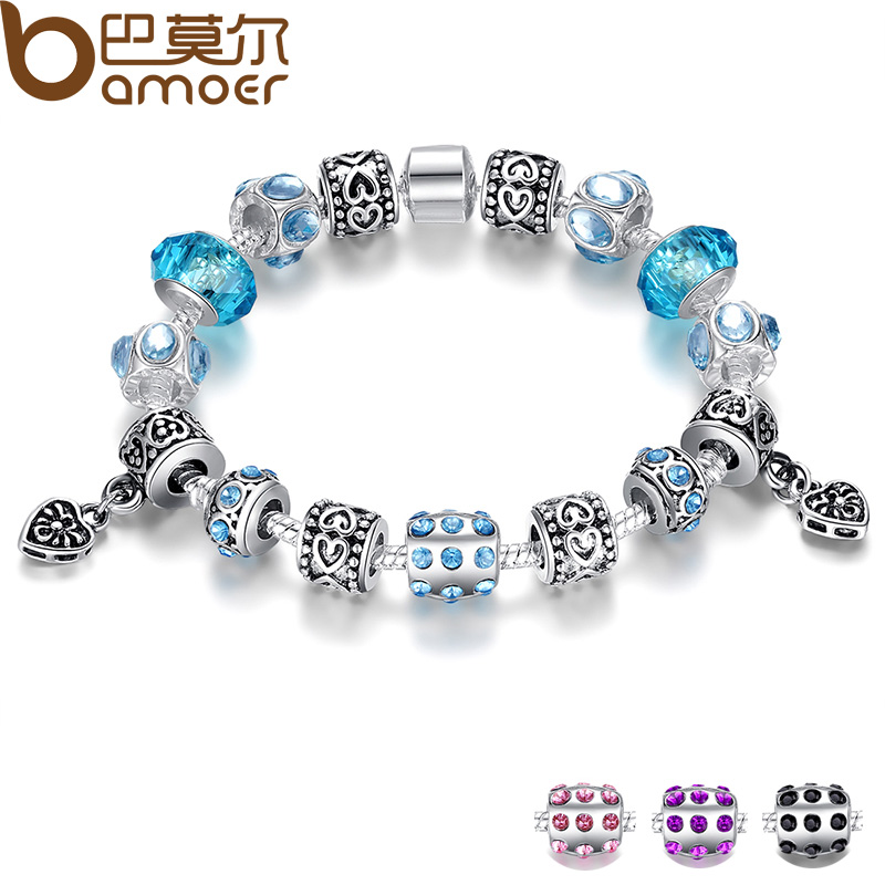 Aliexpress Hot Sell European Style 925 Silver Crystal Charm Bracelet for  Women With Blue Murano Glass d5da27ccc31