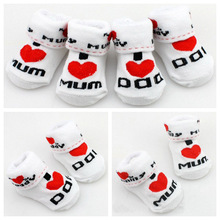 100% cotton Baby socks rubber slip-resistant floor socks love dad love mum cartoon kids socks for girls boys Free Shipping