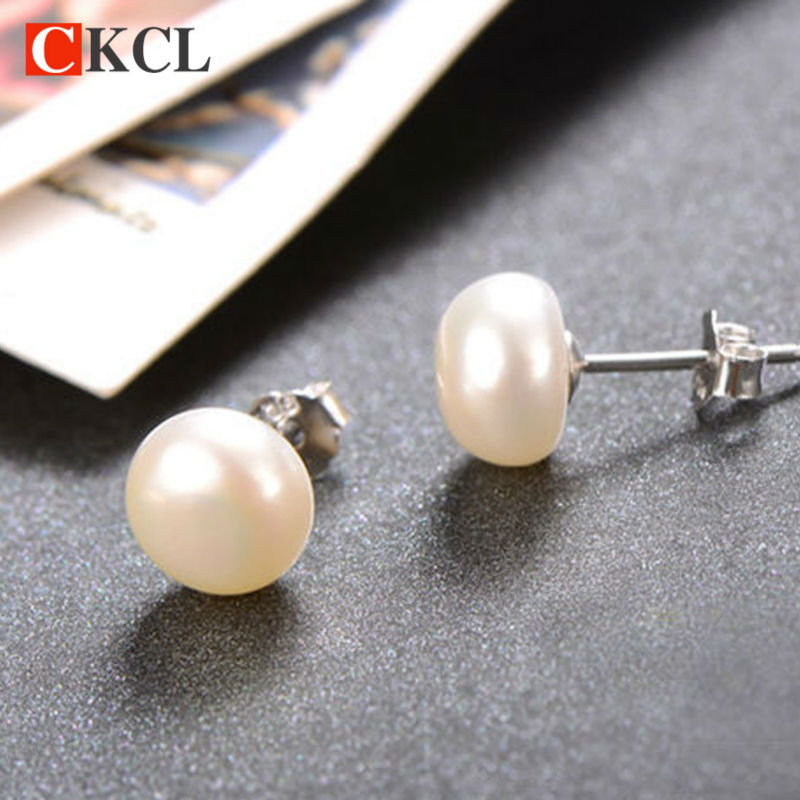 ea7dd4605e2 Double pearl earrings Natural real pearl stud earrings 7-8 mm white black  natural freshwater 925 sterling silver