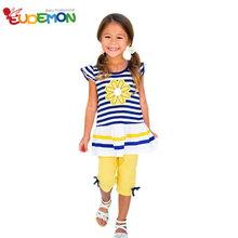 2016 Girls Clothing Sets Short Sleeve Striped T Shirt Pants girls clothes kids set Summer Style
