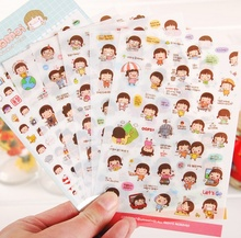 6 Sheets set Cute Lovely Girls Phone Calendar Book Album Diary Decor Paper Sticker Scrapbooking Kawaii