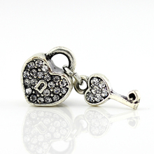 Summer Style Fashion Love Heart Lock & Key Crystal Silver Beads Charms Fit Pandora Women Diy Bracelets & Bangles Jewelry YW15632