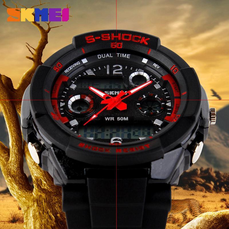 Мужчины в кварцевый цифровой часы мужчины спорт часы SKMEI S анти-шок Relojes моде Relogio Masculino Reloj водонепроницаемый наручные часы