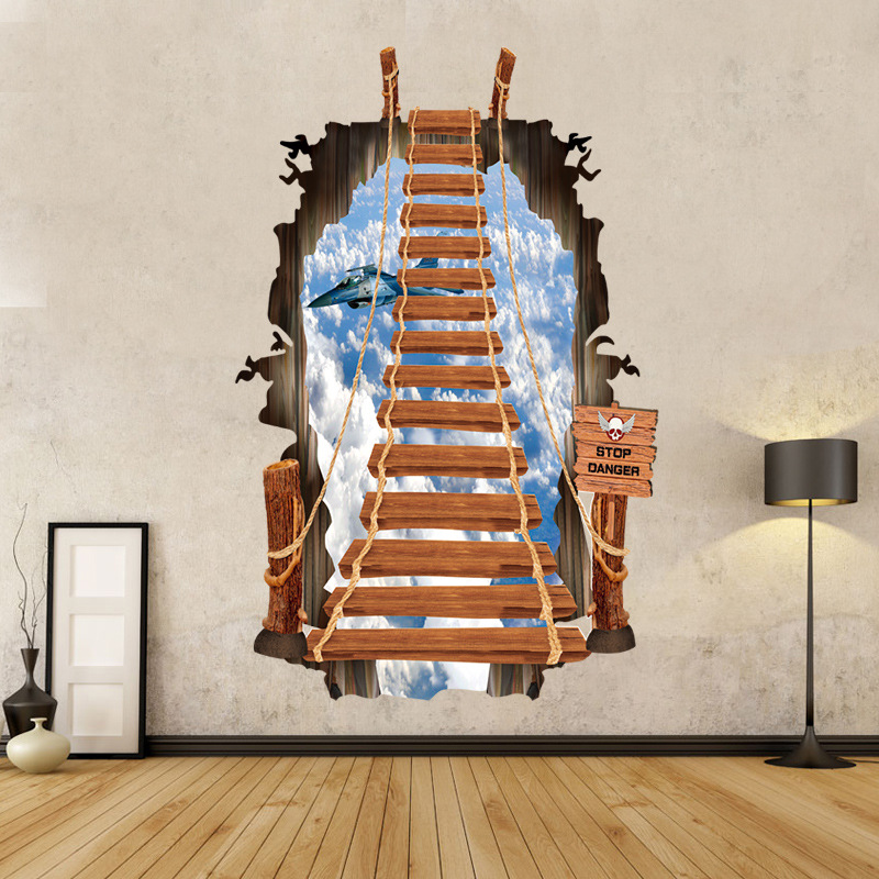 3D Wall Stickers Fashion Creative Staircase Ladder Sky Stickers Aircraft Home Decor Crafts Bedroom Wholesale Direct