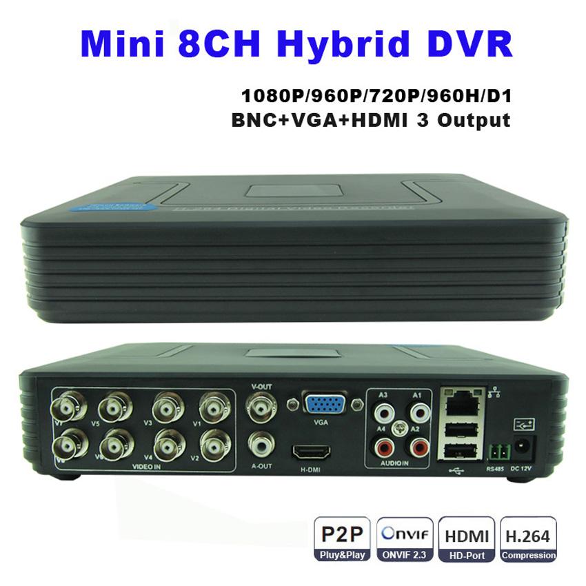 Mini 8CH Full D1 H.264 HDMI Seurity System CCTV DVR 8 Channel 720P 1080P NVR Hybrid DVR Recorder Mobil DVR RS485 PTZ Hot