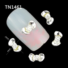 Blueness 10Pcs Silver Ingots Fingernail Strass Manicure Tips Glitter Rhinestones For Charms 3D Alloy Nail Art