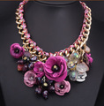 Europe American Brand Colorful Flower Stone Crystal Beads Pendant Women Chokers Necklace Alloy Cotton Weave Wraped