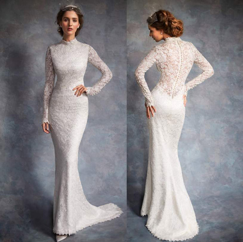 2015 New Elegant Full Long Sleeves Mermaid Wedding Dresses: What Do You Want To Wear For Your Wedding (post A Picture