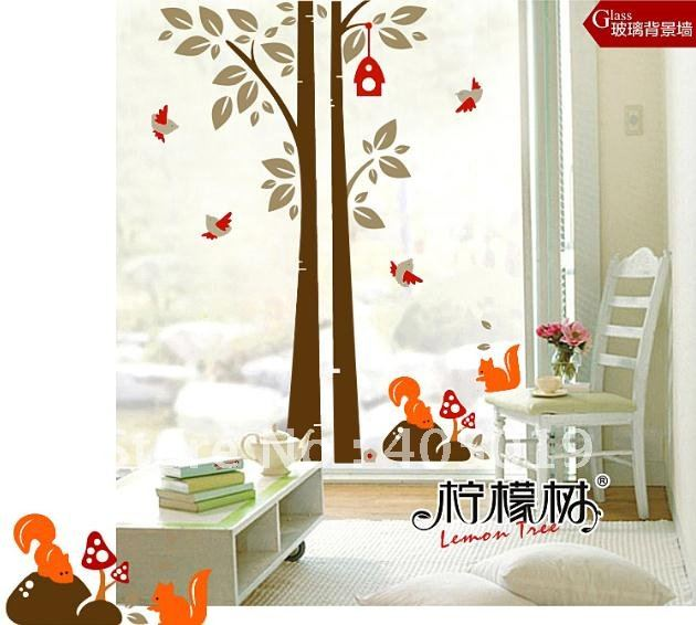 Total Home Decor: JM7123 Animal Squirrel Removable Wall Sticker 1x1.3m