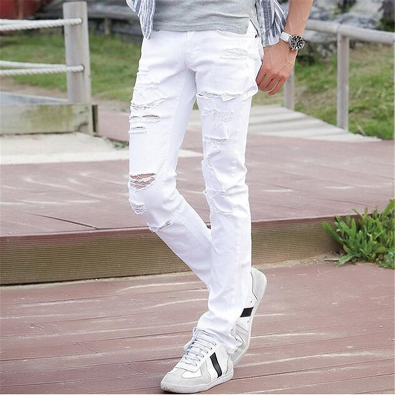 4541b125956 Detail Feedback Questions about MCCKLE Fashion White Ripped Jeans ...