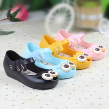 2016 Brand New Kids Mini Melissa Shoes with Owl Pattern Baby Girls Sandals Jelly Shoes Summer