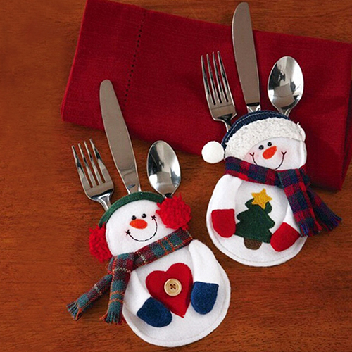 Hot Sale 2Pcs Snowman Silverware Fork Knife Holder Pocket Christmas Home Decor Smile Cutlery Pouch