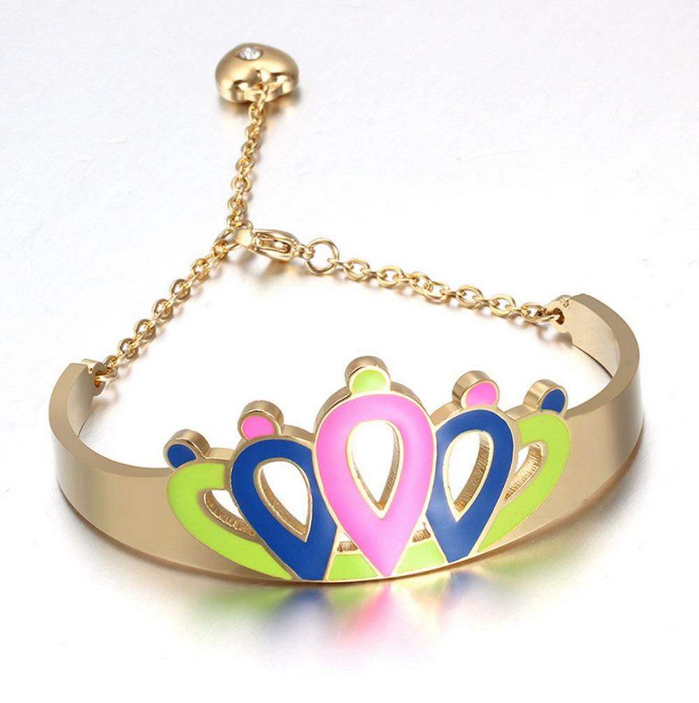Name Brand Bracelets: Wholesale Charming Crawn Shape Enamel Bracelet Name Brand