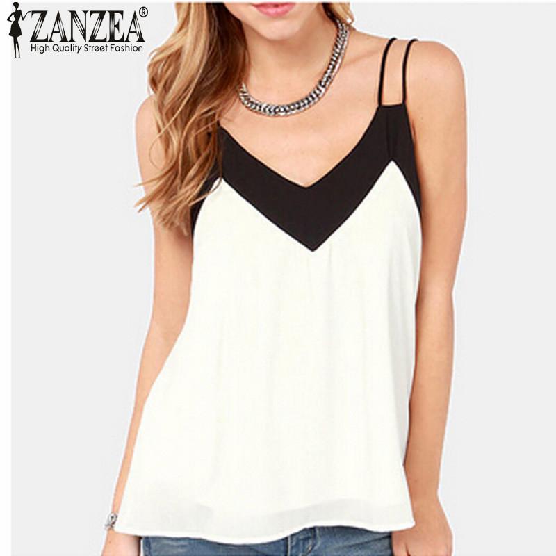 Zanzea 2016 Summer Style Sexy Women Blusas Sleeveless Halter Blouses Casual Vest Loose Chiffon Blouse V