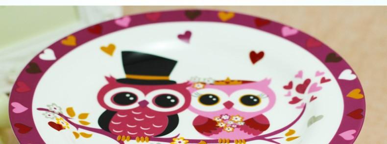 8 Inch Cartoon Creative Ceramic Plate Stands Handpainted Owl Dish