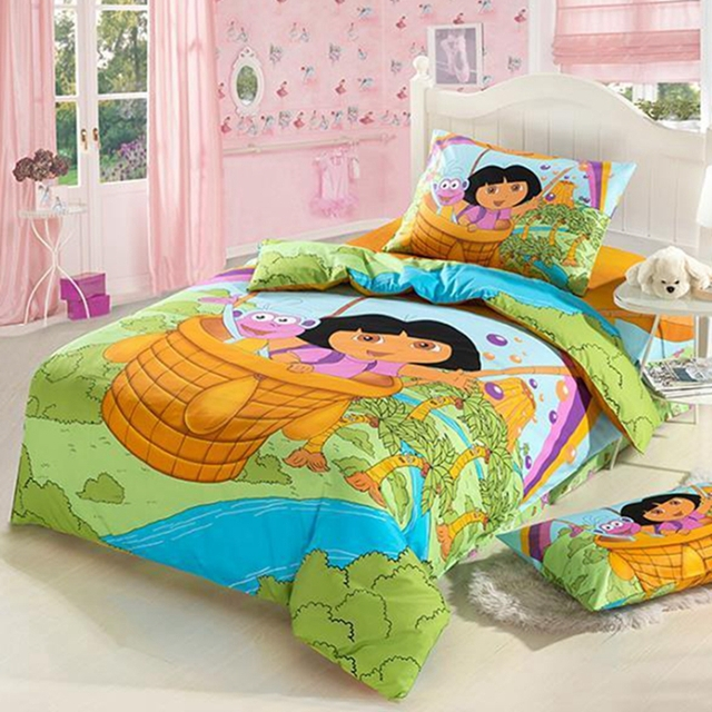 dora girls cartoon bedding set twin size for kids bedspread bed in a bag sheet duvet cover. Black Bedroom Furniture Sets. Home Design Ideas