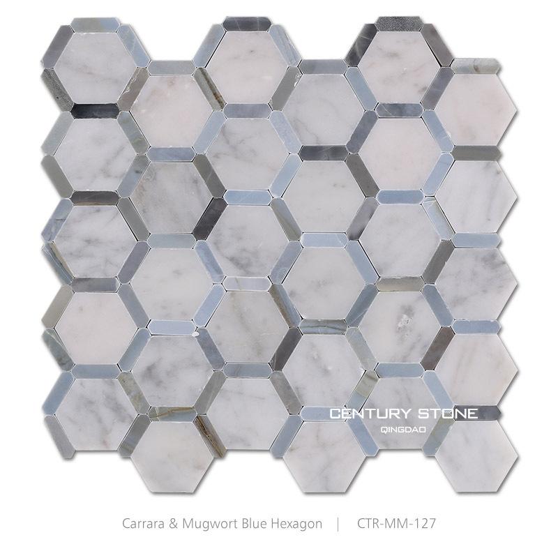 Polished Italy Bianco Carrara Mma Hexagon Marble Mosaic Backsplash Wall Tiles Product Description 1product View Jpg Ctr Mm 127 1