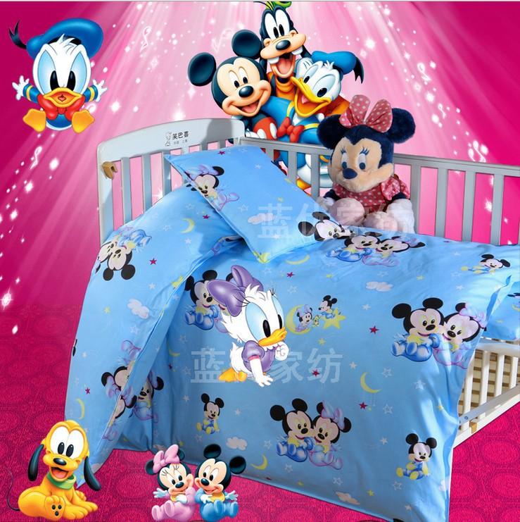 Promotion 3PCS Kitty Mickey baby bedding set bebe jogo de cama cot crib bedding set Duvet